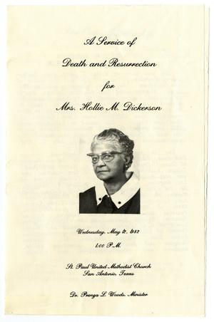 Primary view of object titled '[Funeral Program for Hollie M. Dickerson, May 12, 1982]'.