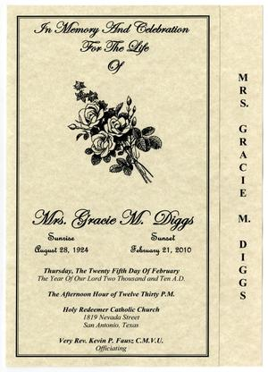 Primary view of object titled '[Funeral Program for Gracie M. Diggs, February 25, 2010]'.