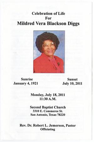 [Funeral Program for Mildred Vera Blackson Diggs, July 18, 2011]