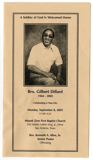 Primary view of object titled '[Funeral Program for Gilbert Dillard, September 8, 2003]'.