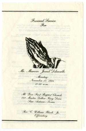 Primary view of object titled '[Funeral Program for Marvin Jewel Dilworth, November 12, 1984]'.
