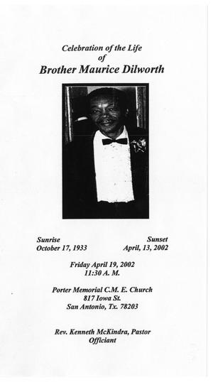 Primary view of object titled '[Funeral Program for Maurice Dilworth, April 19, 2002]'.