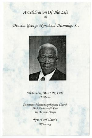 Primary view of object titled '[Funeral Program for Deacon Geroge Norwood Dismuke, Sr., March 27, 1996]'.