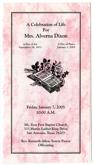 Primary view of object titled '[Funeral Program for Alverna Dixon, January 7, 2005]'.