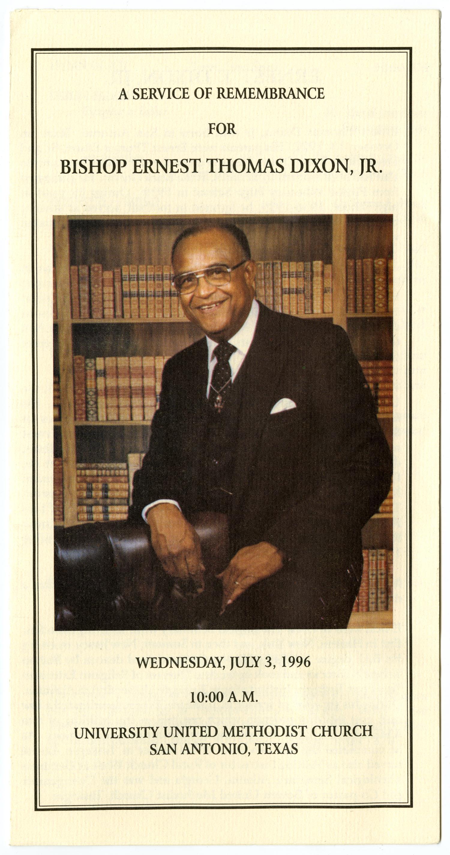 Funeral Program For Bishop Ernest Thomas Dixon Jr July