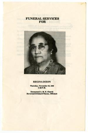 Primary view of object titled '[Funeral Program for Regina Dixon, November 20, 1980]'.