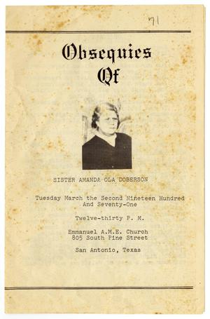 Primary view of object titled '[Funeral Program for Amanda Ola Doberson, March 2, 1971]'.