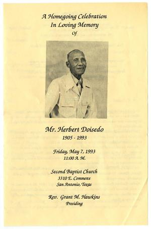 Primary view of object titled '[Funeral Program for Herbert Doisedo, May 7, 1993]'.