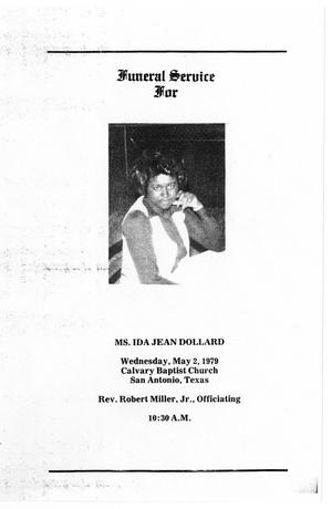 Primary view of object titled '[Funeral Program for Ida Jean Dollard, May 2, 1979]'.