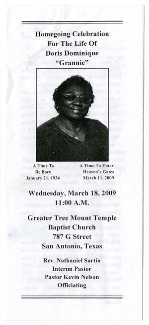 [Funeral Program for Doris Dominique, March 18, 2009]
