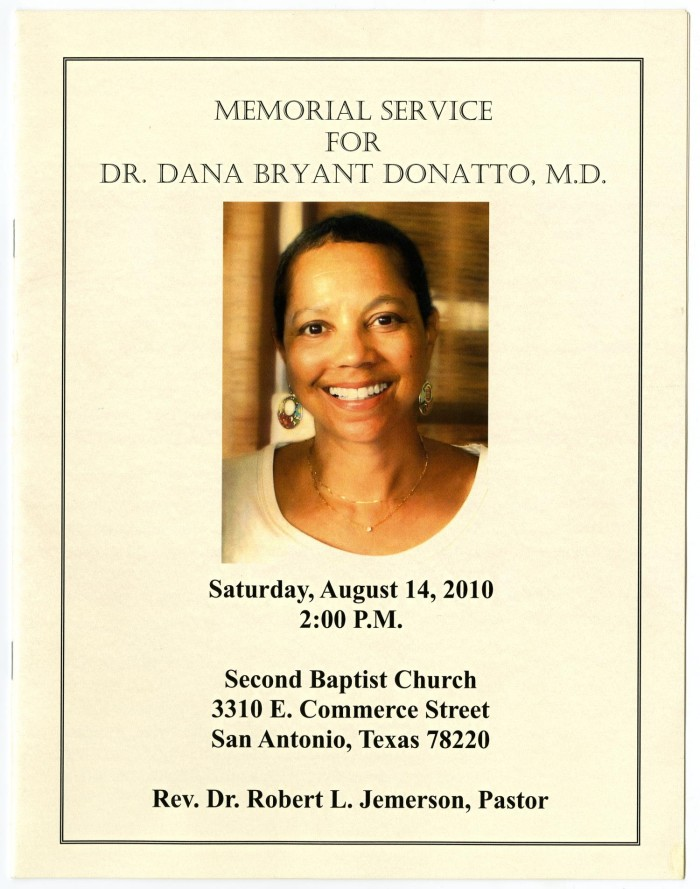 Primary View Of Object Titled Funeral Program For Dana Bryant Donatto August 14