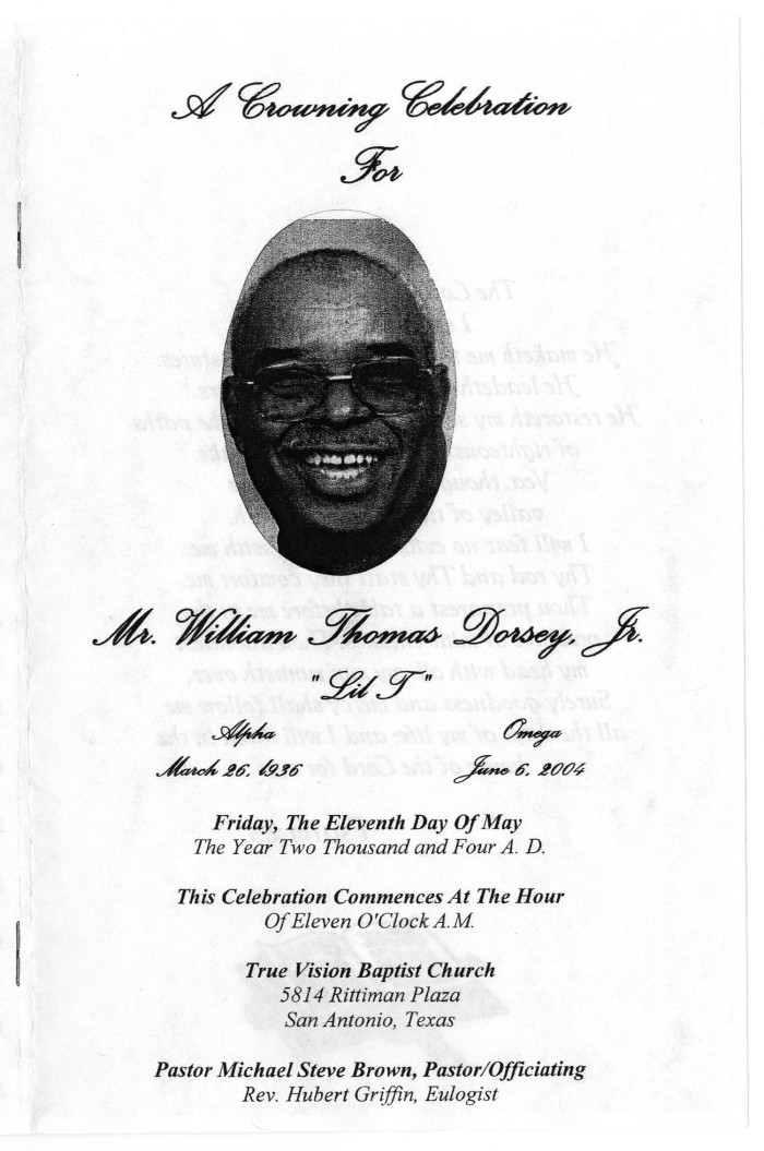 Primary view of object titled '[Funeral Program for William Thomas Dorsey, Jr.
