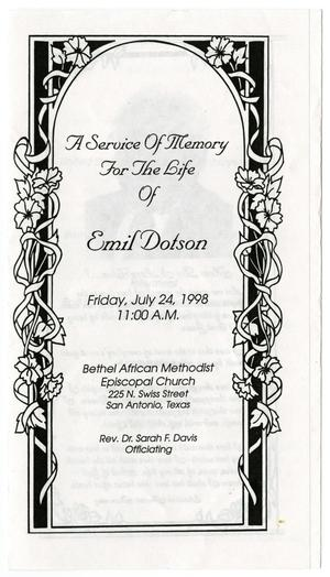 Primary view of object titled '[Funeral Program for Emil Dotson, July 24, 1998]'.
