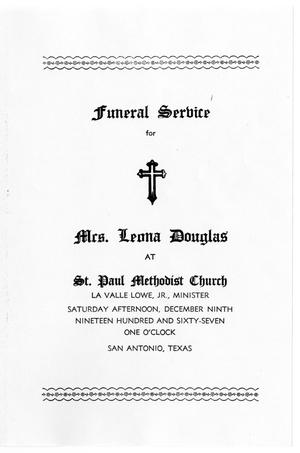 Primary view of object titled '[Funeral Program for Leona Douglas, December  9, 1967]'.