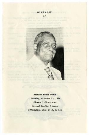 Primary view of object titled '[Funeral Program for Eddie Doxie, October 13, 1988]'.
