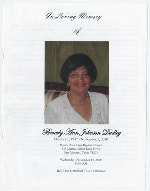 Primary view of object titled '[Funeral Program for Beverly Ann Johnson Dudley, November 10, 2010]'.