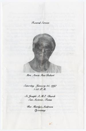 Primary view of object titled '[Funeral Program for Annie Mae Duhart, January 25, 1997]'.
