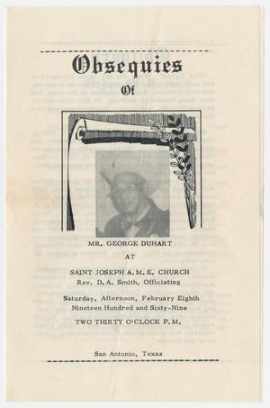 [Funeral Program for George Duhart, February 8, 1969]
