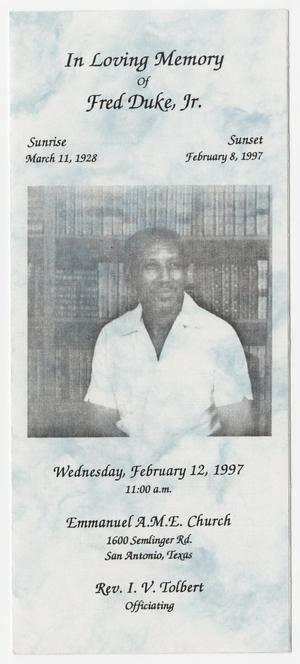 [Funeral Program for Fred Duke, Jr., February 12, 1997]