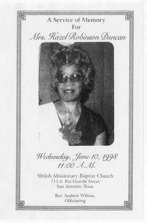 Primary view of object titled '[Funeral Program for Hazel Robinson Duncan, June 10, 1998]'.