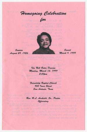 Primary view of object titled '[Funeral Program for Ida Nell Bates Duncan, March 15, 1999]'.