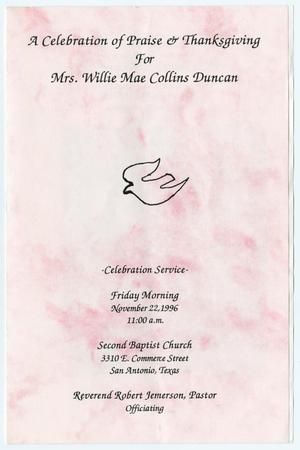 Primary view of object titled '[Funeral Program for Willie Mae Collins Duncan, November 22, 1996]'.