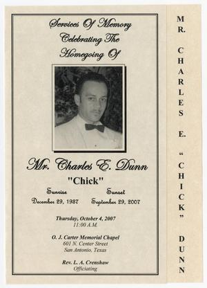 Primary view of object titled '[Funeral Program for Charles E. Dunn, October 4, 2007]'.