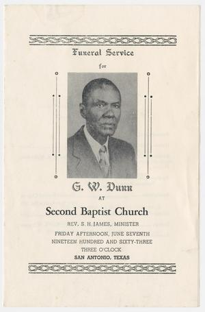 Primary view of object titled '[Funeral Program for G. W. Dunn, June 7, 1963]'.