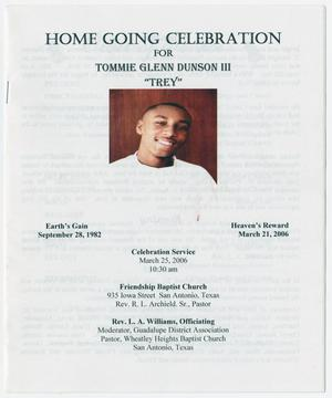Primary view of object titled '[Funeral Program for Tommie Glenn Dunson, III, March 25, 2006]'.