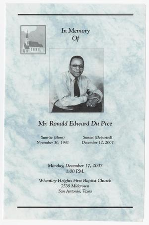 Primary view of object titled '[Funeral Program for Ronald Edward Du Pree, December 17, 2007]'.
