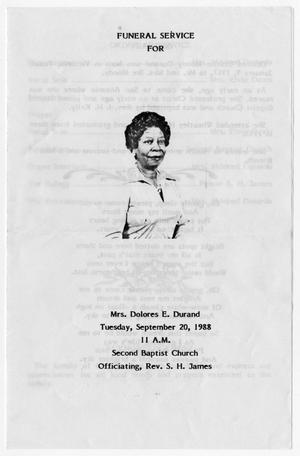 Primary view of object titled '[Funeral Program for Dolores E. Durand, September 20, 1988]'.