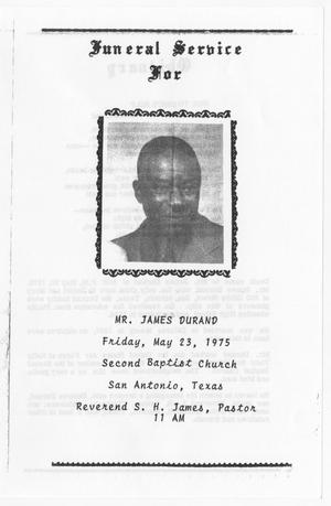 Primary view of object titled '[Funeral Program for James Durand, May 23, 1975]'.