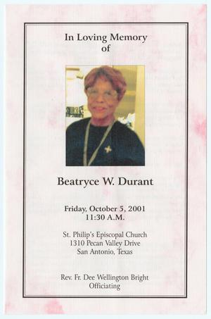 Primary view of object titled '[Funeral Program for Beatryce W. Durant, October 5, 2001]'.