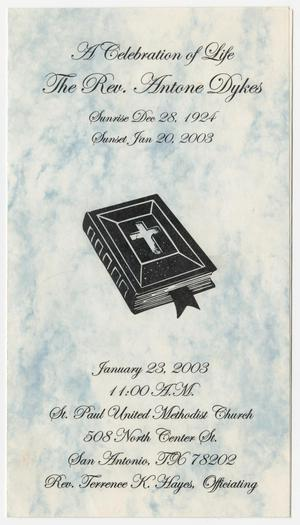 Primary view of object titled '[Funeral Program for Antone Dykes, January 23, 2003]'.