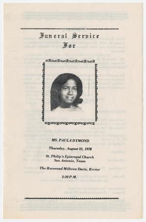 Primary view of object titled '[Funeral Program for Paula Dymond, August 31, 1978]'.