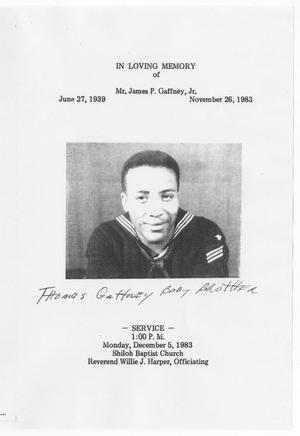 Primary view of object titled '[Funeral Program for James P. Gaffney, Jr., December 5, 1983]'.