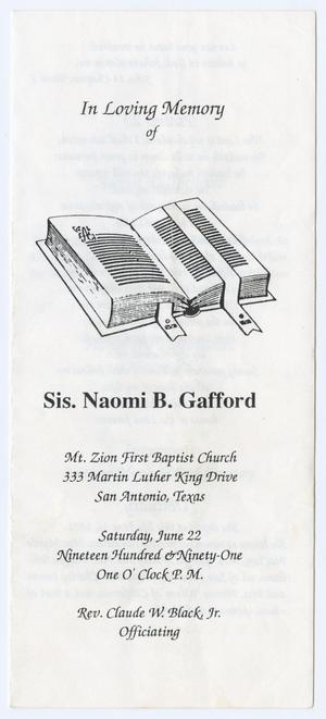 Primary view of object titled '[Funeral Program for Naomi B. Gafford, June 22, 1991]'.