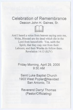 [Funeral Program for Deacon John H. Gaines, Sr., April 29, 2005]