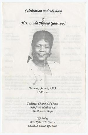 Primary view of object titled '[Funeral Program for Linda Hysaw Gaitwood, June 1, 1993]'.