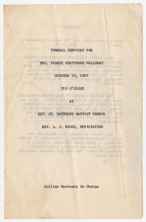 Primary view of object titled '[Funeral Program for Fannie Shepphard Galloway, October 10, 1967]'.