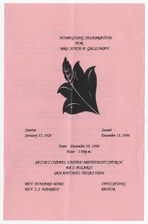 Primary view of object titled '[Funeral Program for Joyce P. Galloway, December 19, 1996]'.