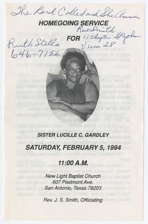 Primary view of object titled '[Funeral Program for Lucille C. Gardley, February 5, 1994]'.
