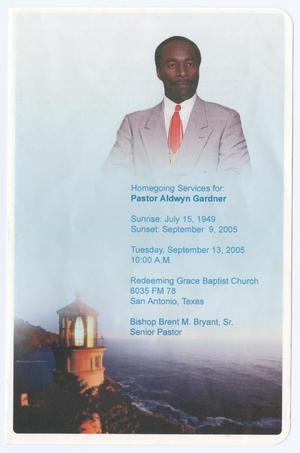 Primary view of object titled '[Funeral Program for Aldwyn Gardner, September 13, 2005]'.