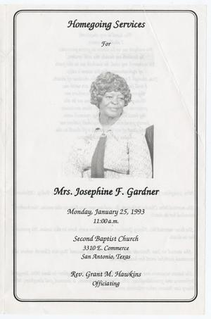 [Funeral Program for Josephine F. Gardner, January 25, 1993]