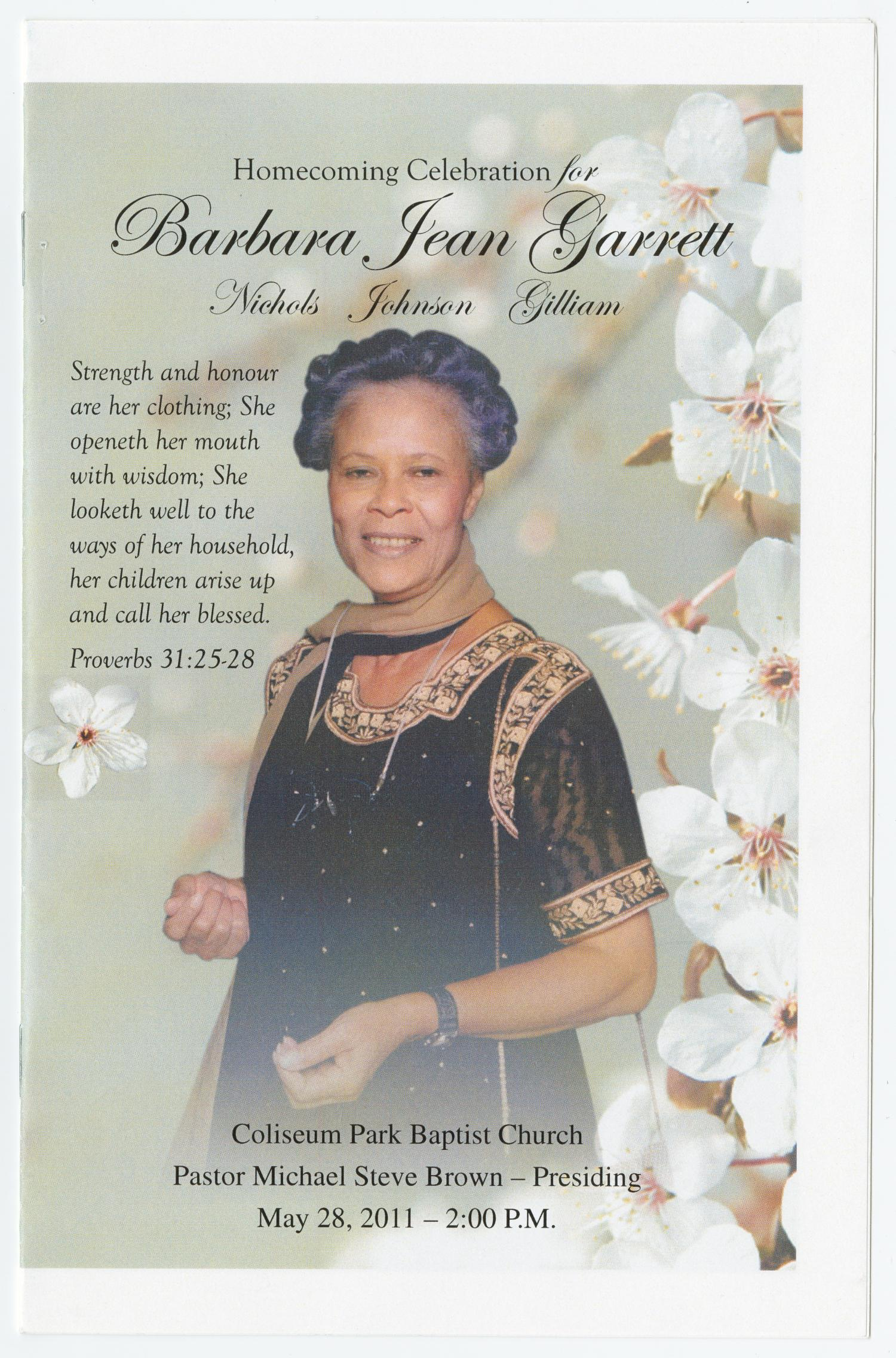 [Funeral Program for Barbara Jean Garrett, May 28, 2011]                                                                                                      [Sequence #]: 1 of 5