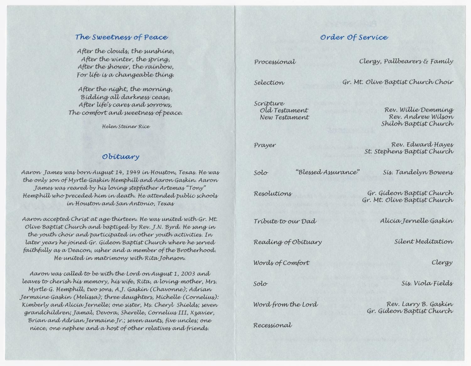 [Funeral Program for Aaron James Gaskin, August 9, 2003]                                                                                                      [Sequence #]: 2 of 3