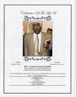 [Funeral Program for Lenard Curtis Gaskin]