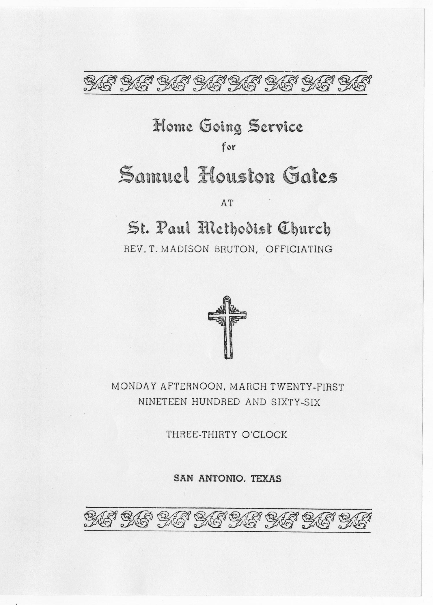 [Funeral Program for Samuel Houston Gates, March 21, 1966]                                                                                                      [Sequence #]: 1 of 5