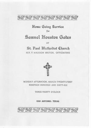 Primary view of object titled '[Funeral Program for Samuel Houston Gates, March 21, 1966]'.