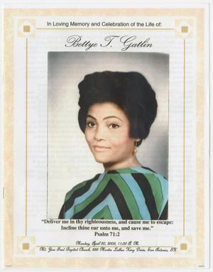 Primary view of object titled '[Funeral Program for Bettye T. Gatlin, April 20, 2009]'.